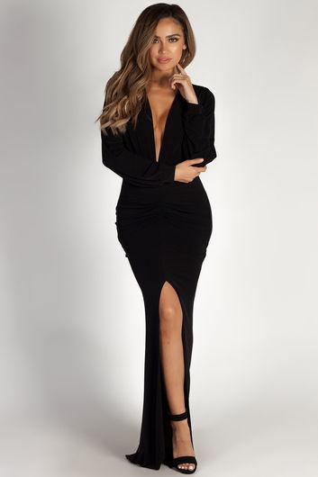 """Divine Feminine"" Black Long Sleeve Deep V Maxi Gown"