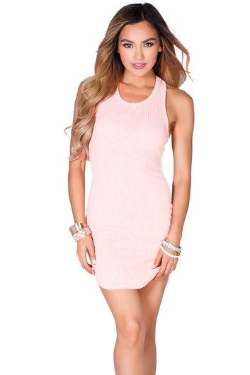 """Cam"" Blush Pink Notched Hem Sexy Sleeveless Ribbed Knit Short Bodycon Dress"