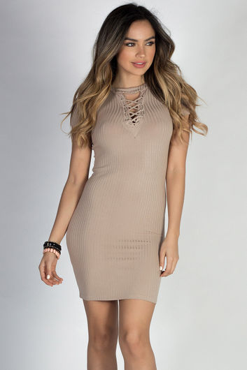 """""""My Turn Now"""" Taupe Short Sleeve Bodycon Lace Up Dress"""