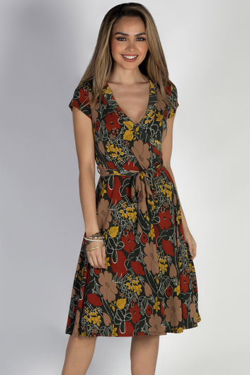 """Pretty Picture"" Olive Floral Short Sleeve Wrap Dress"