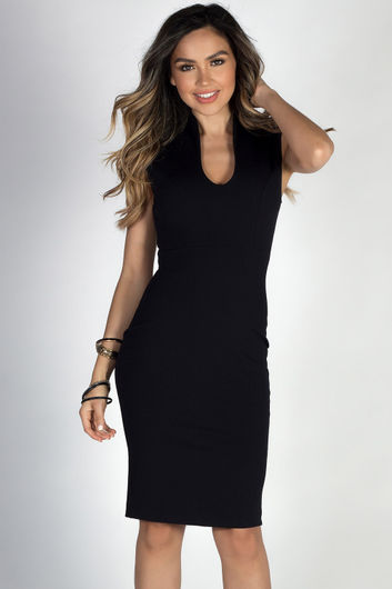 """Respect"" Black Classy Sleeveless Fitted Sheath Dress"