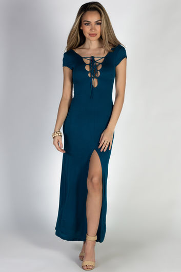 """""""Wait For It"""" Deep Teal Short Sleeve Lace Up V Neck Maxi Dress"""