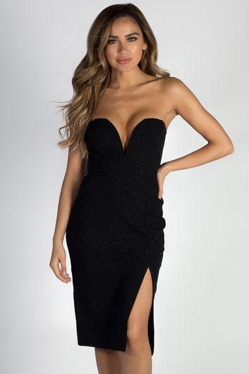 """Keeping My Options Open"" Black Sweetheart Shimmer Dress"